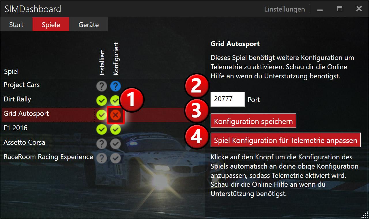 Enable Grid Autosport Telemetry - SIM Dashboard