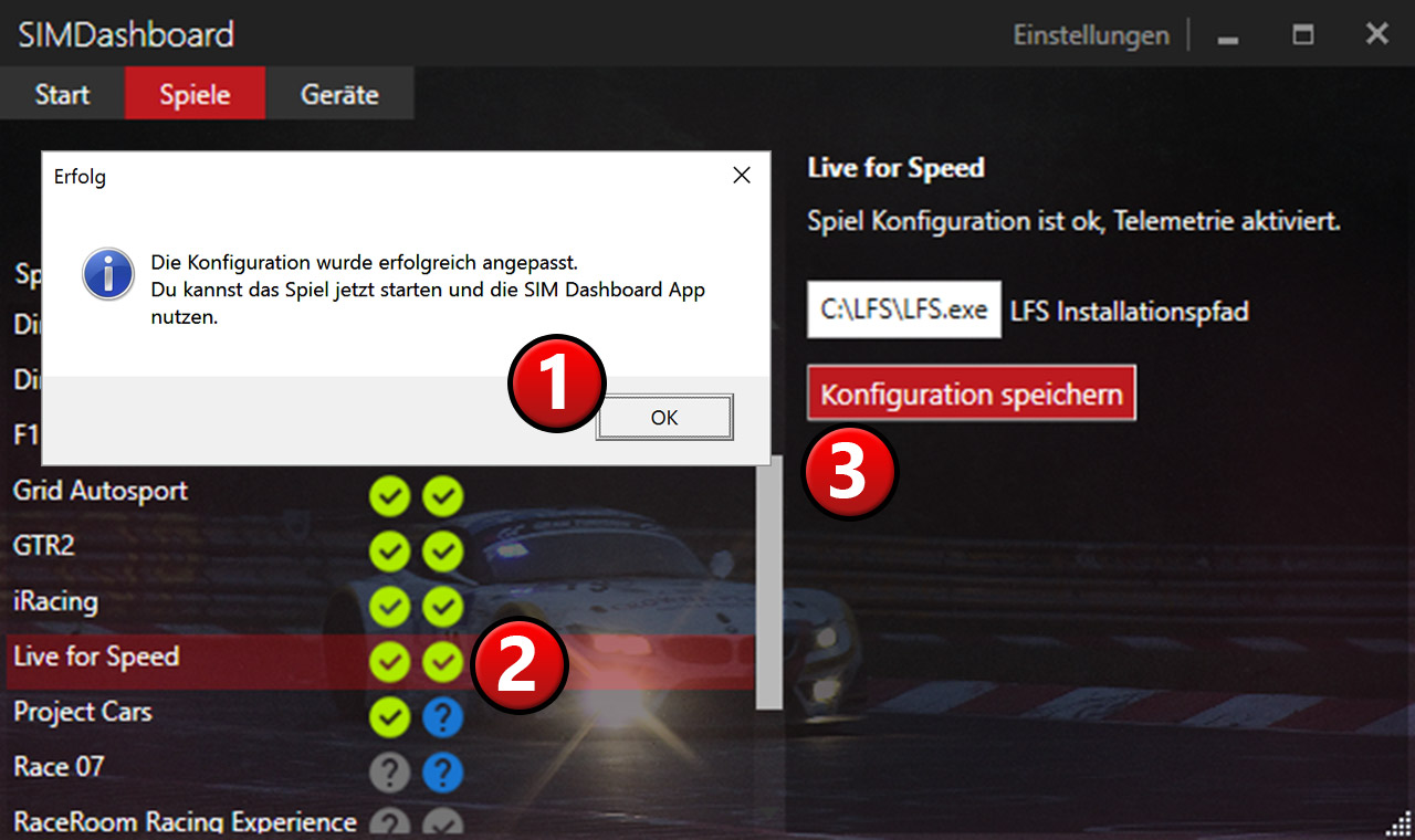 Enable Live for Speed Telemetry - SIM Dashboard