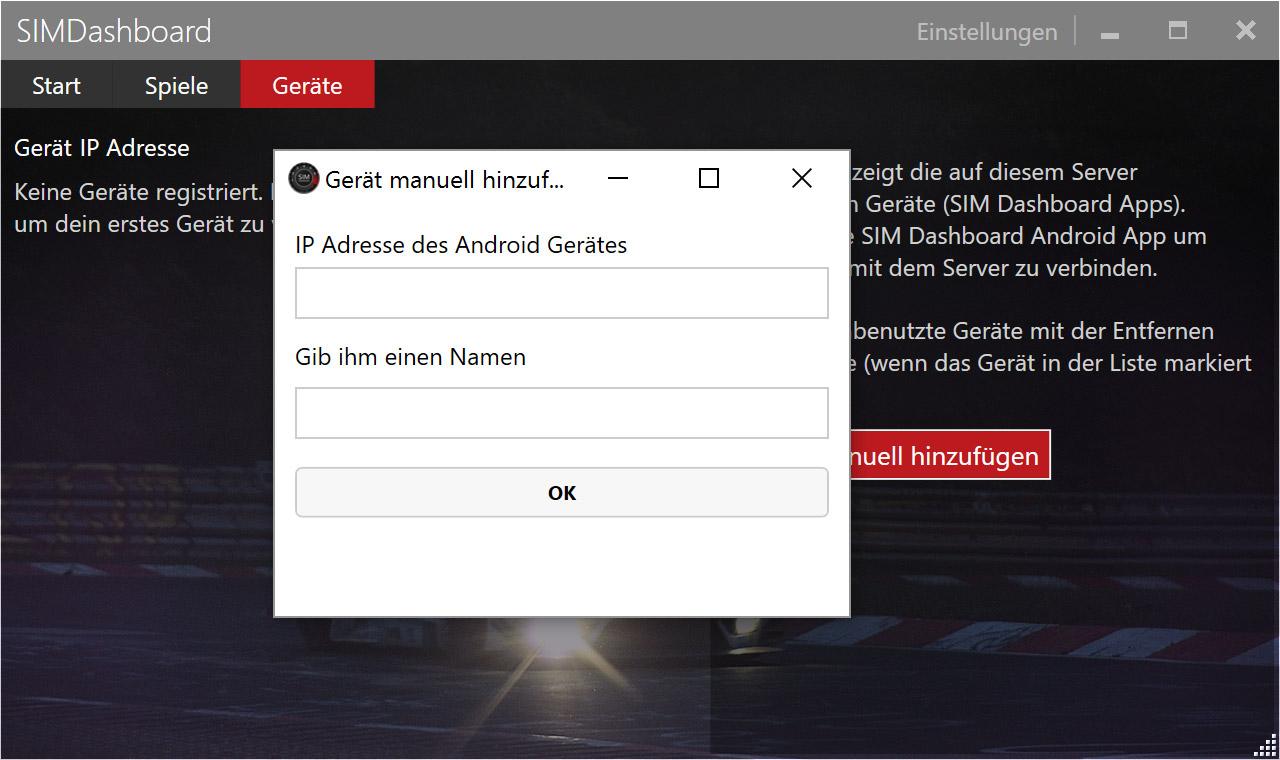 Add device manually - SIM Dashboard